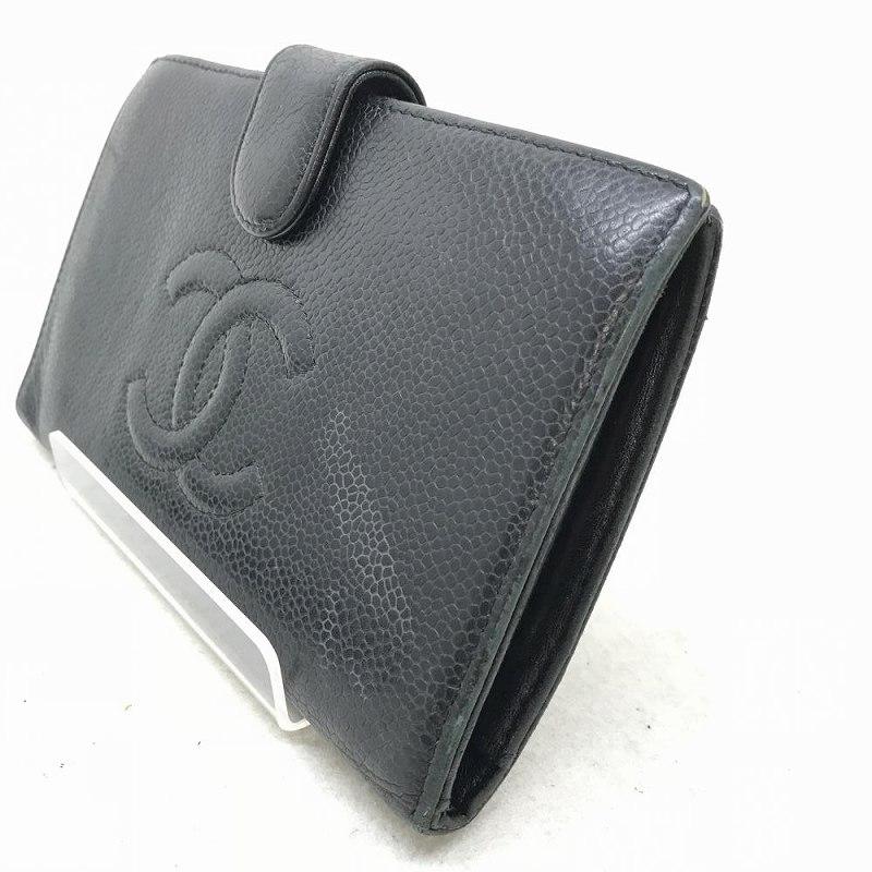 e0ad230f5651 CHANEL シャネル A13498 キャビアスキン レディース がま口 二つ折り長財布 黒 フラップ Wホック 箱・ギャラ 管理YI10289  ブラック-レディース財布