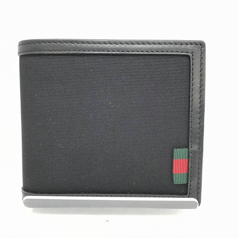 GUCCI グッチ 237359・0959 シェリータグ キャンバスレザー 二つ折り財布 小銭入れあり ブラック 黒 ユニセックス 美品 未使用 管理YI10394