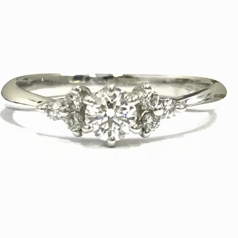 プラチナ ダイヤモンド ファッションリング ダイヤ0.188ct Pt900 7号 2.4g 鑑定書付 中古 指輪 ジュエリー レディース 管理YI1307