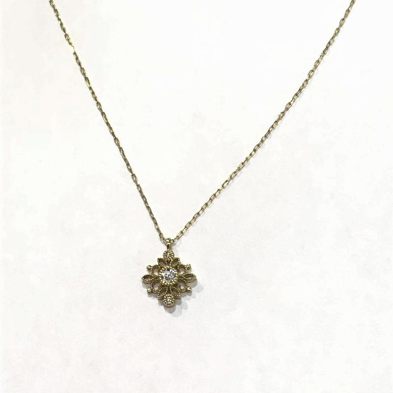 K18YG イエローゴールド 750/ ダイヤモンド ネックレス ペンダント D0.1ct 1.8g 中古 美品 管理EM1702
