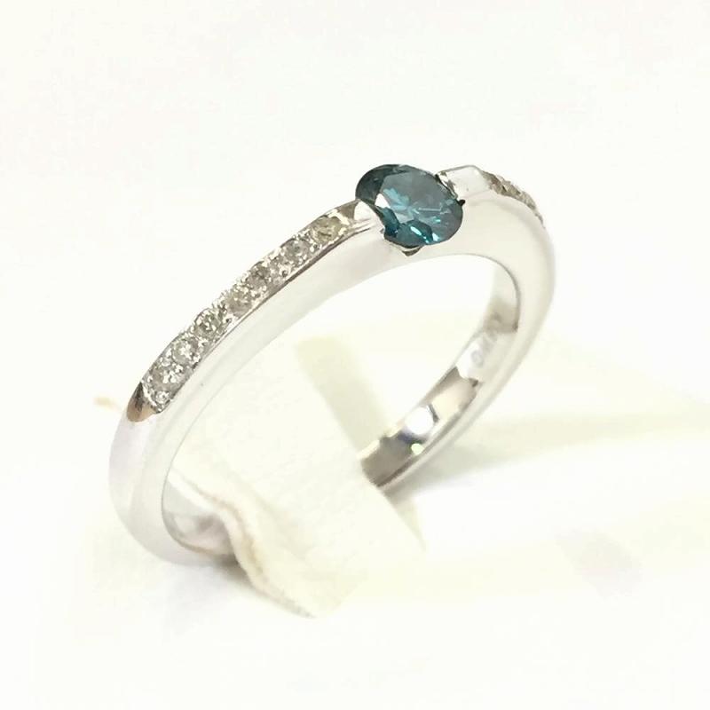 ホワイトゴールド ダイヤモンドリング 色石不明 青色石0.19ct メレダイヤ0.09ct 2.6g 9号 K18WG 中古 ジュエリー 指輪 レディー 管理YI2198