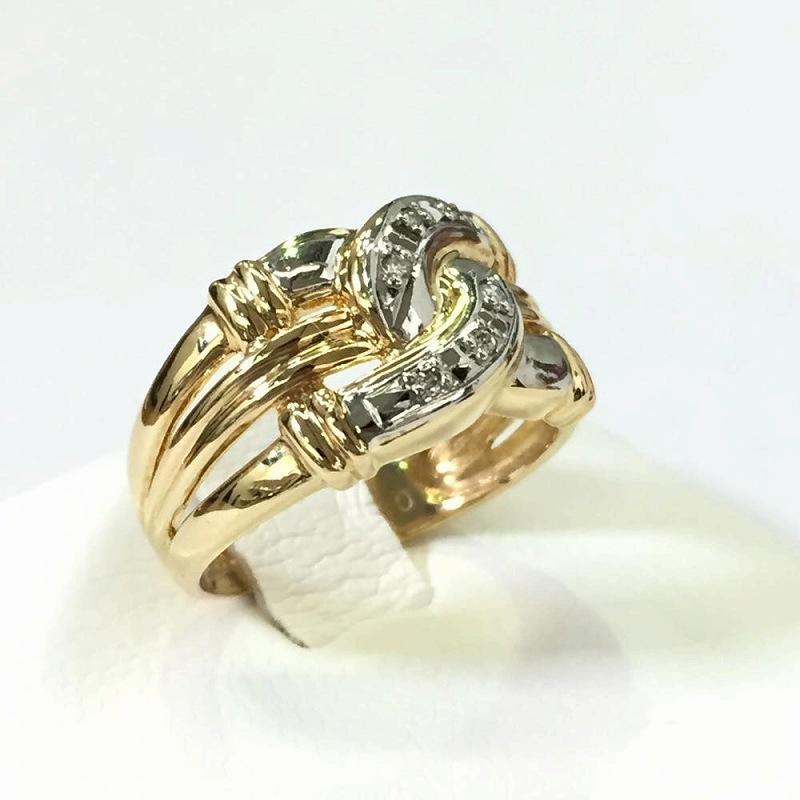プラチナ&イエローゴールド ダイヤモンドリング メレダイヤ 0.03ct 約7.5号 4.3g K18 Pt900 18金 中古 ジュエリー 指輪 管理YI2377