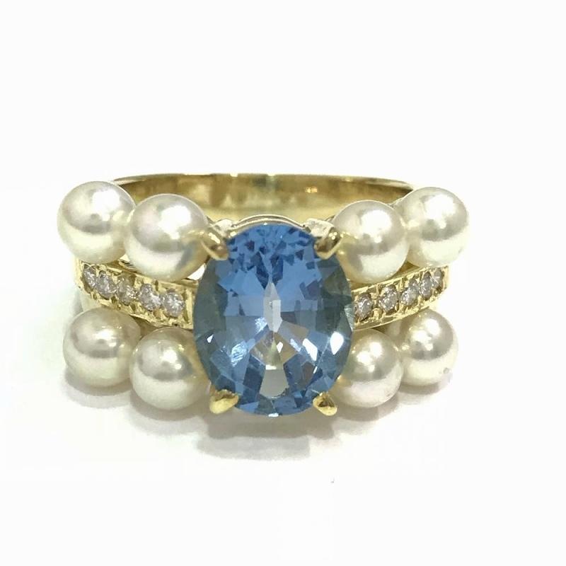 天然トパーズ パールダイヤモンドファッションリング イエローゴールド 13号 K18 8.0g 鑑別書付 本真珠 中古 指輪 ジュエリー 管理YI2389