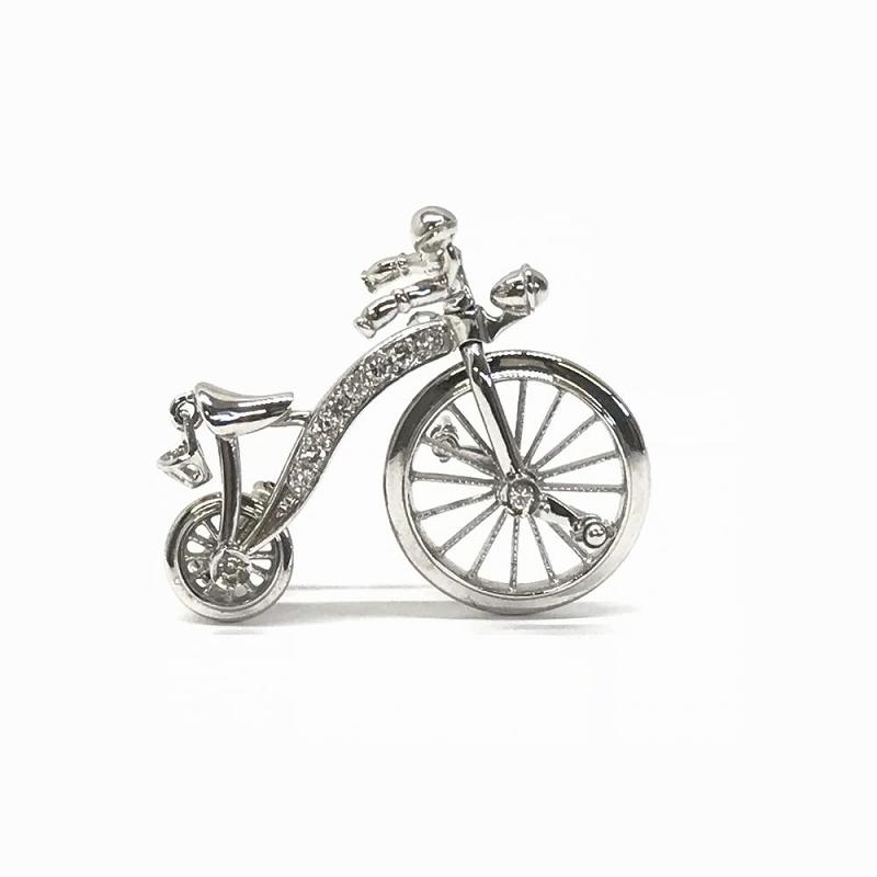 K18WG ホワイトゴールド 750 / ピンブローチ 自転車モチーフ ダイヤモンド D0.14ct 中古 美品 管理EM2394