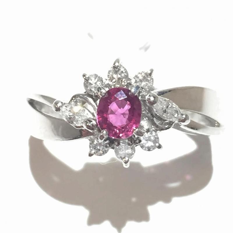 プラチナ ルビー ダイヤモンド リング 11.5号 Pt900 R0.31ct メレダイヤ0.28ct 4.3g 中古 ジュエリー 指輪 レディース 美品 管理YI2484