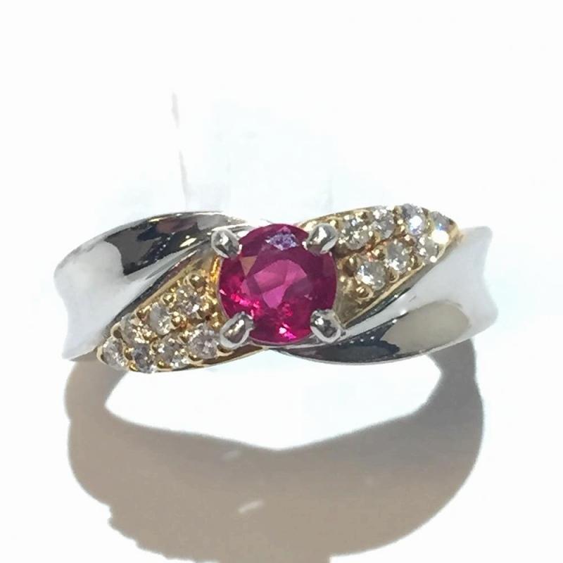 ルビー ダイヤモンドリング プラチナ イエローゴールド K18Pt900 R0.57ct D0.15ct 9号 4.8g 指輪 ソーティング付 ジュエリー 管理2493