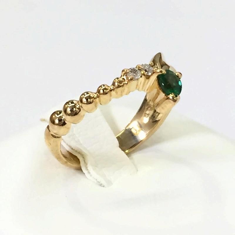 エメラルド ダイヤモンドリング K18 イエローゴールド 10号 3.2g メレダイヤ0.02ct ファッションリング 中古 指輪 ジュエリー 管理YI2518
