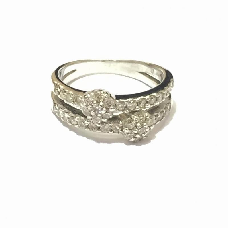 ホワイトゴールド パヴェダイヤモンドリング K18WG メレダイヤ0.48ct 5号 3.7g 中古 指輪 ジュエリー ハーフエタニティ 管理YI2537