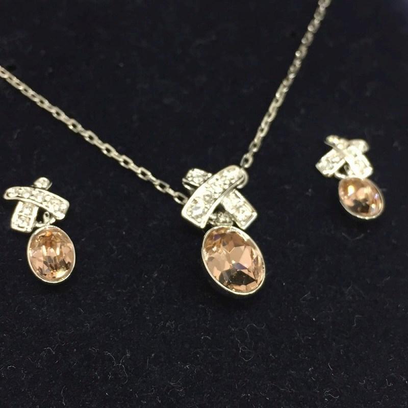 Kanteikyoku Nagoyanishiki  SWAROVSKI Swarovski necklace pierced earrings  set pink system brand jewelry accessories Lady s management RM3783  d99c157dfeae