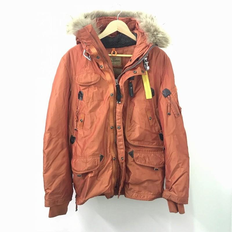 PJS パラジャンパーズ/ パイロット ダウンジャケット アウター 冬用 メンズ Mサイズ ミディアム オレンジ ファー付き 中古 管理EM10530