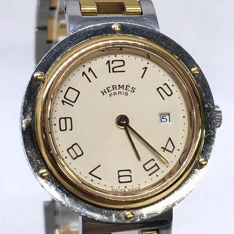 HERMES ヘルメス クリッパー CL3.440 ボーイズ アイボリー文字盤 コンビ 腕時計 ブランド 箱 コマ付き 管理RM10569
