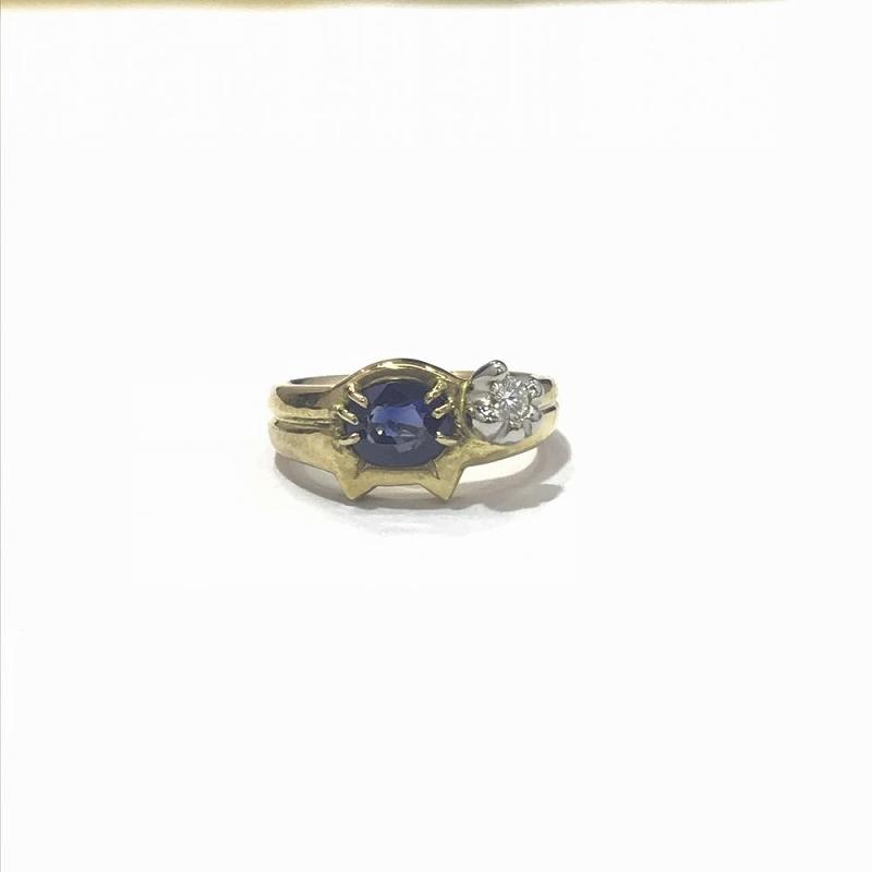 K18YG イエローゴールド 750 / リング 指輪 ダイヤモンド0.1ct サファイア1.16ct 鑑別書付き 中古 11号 8.7g 管理EM1315