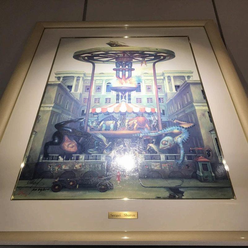 絵画 マンション セルゲイシャロフ 技法 クリスタルレリース ED 96/250 サイズH70 W52 額縁 中古 管理HS1445