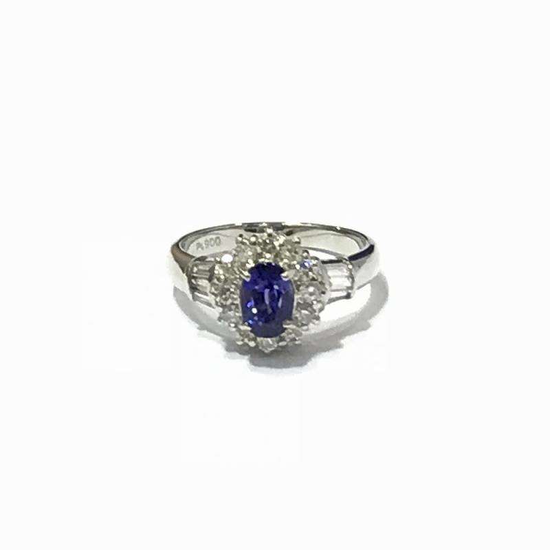 PT900 プラチナ/ダイヤモンド0.74ct サファイア 1.52ct リング 指輪 14号 6.9g 美品 管理EM2199