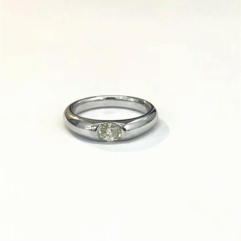 K18WG ホワイトゴールド 750/ ダイヤモンド0.388ct 鑑定書付き オーバルブリリアントカット 指輪 リング 11号 5.8g SI1 イエロー 管理EM2410