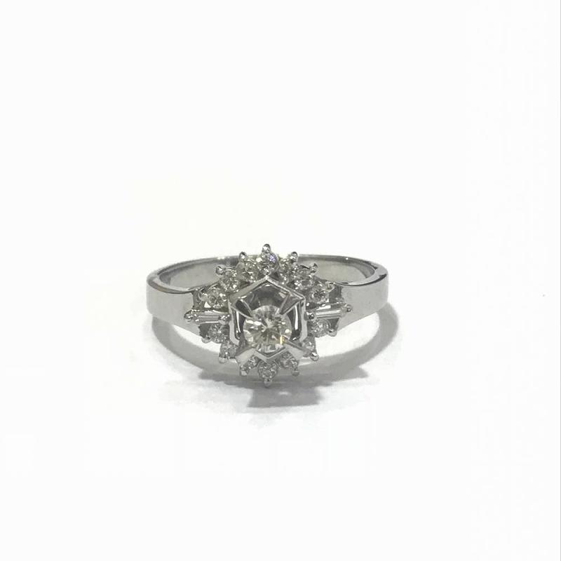 PT900 プラチナ/ ダイヤモンド リング 指輪 D0.2ct 17号 5.9g 中古 美品 管理EM2418