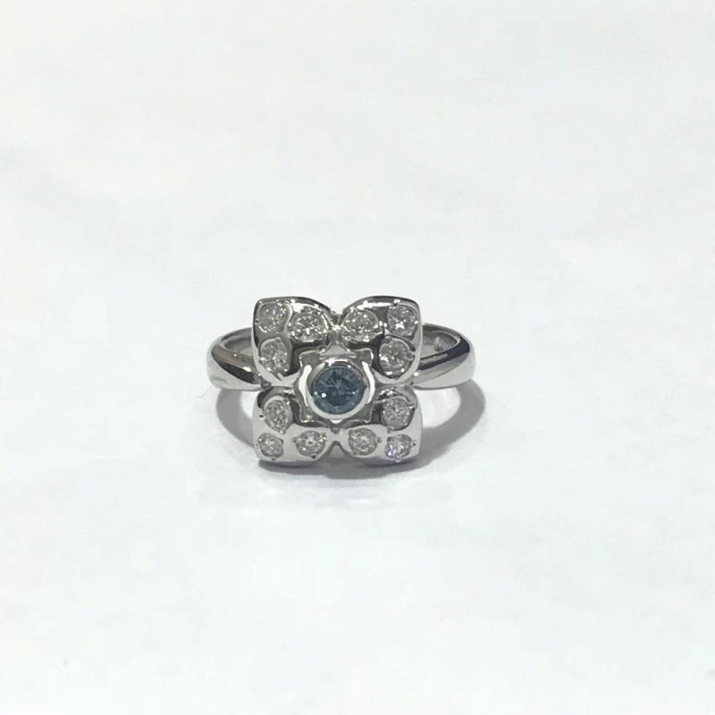 PT900プラチナ/ リング 指輪 フラワーモチーフ ダイヤモンド0.12ct 0.27ct 6.2g 8号 中古 美品 管理EM2491