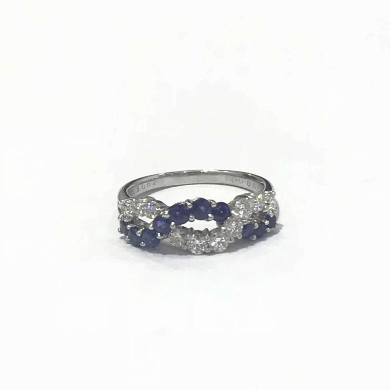 PT900 プラチナ/ サファイア 0.82ct ダイヤモンド0.55ct リング 指輪 中古14号 5.8g 管理EM2501