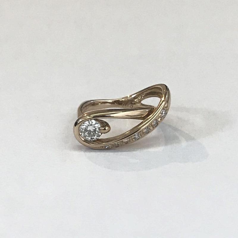 K18PG ピンクゴールド/ ダイヤモンド リング ピンキー 小指 D0.238ct D0.1ct 3号 3.6g 美品 管理EM2546