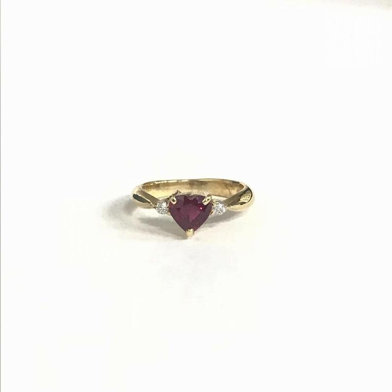 K18YG イエローゴールド 750/ リング ルビー0.5ct ダイヤモンド0.04ct 2号 2.4g 指輪 美品 管理EM2510
