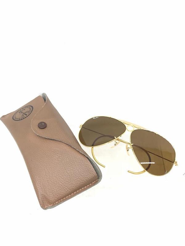 RAY BAN レイバン サングラス 色付きレンズ ブラウンレンズ ゴールド メンズ ケース付き 丸み 中古 管理HS9039