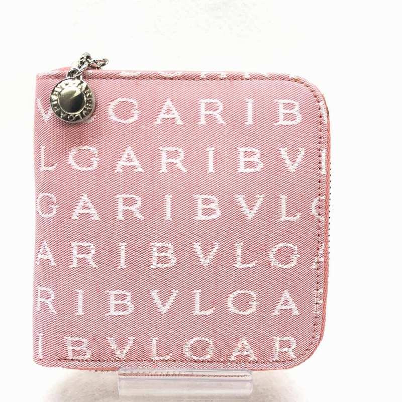 特上品 BVLGARI ブルガリ ロゴマニア 二つ折り ラウンドファスナー財布 ピンク ホワイト ロゴ シルバー金具 レディース 中古 管理HS11003