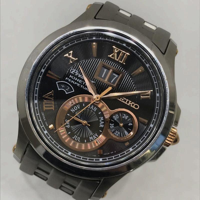 SEIKO セイコー 7D48-0AG0 Premier プルミエ キネテック パーペチュアルカレンダー メンズ 腕時計 訳あり 箱・保証書付 管理YI11028