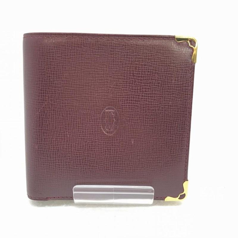 CARTIER カルティエ L3000451 マストタンク 二つ折り財布 ボルドー ゴールド金具 レザー ユニセックス 小銭 札 カード 中古 管理HS11090