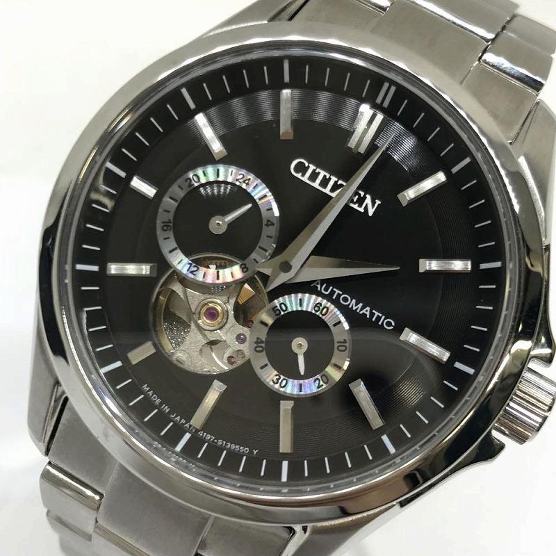 CITIZEN シチズン 4197-S098190 NP1010-51E シチズンコレクション 自動巻き 黒文字盤 裏スケ メンズ腕時計 管理RM11267