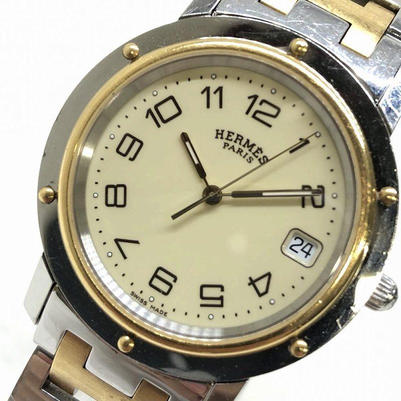 HERMES エルメス CL6.720 クリッパー メンズ クォーツ デイト アイボリー文字盤 ブランド腕時計 ゴールド シルバー 管理RM11370