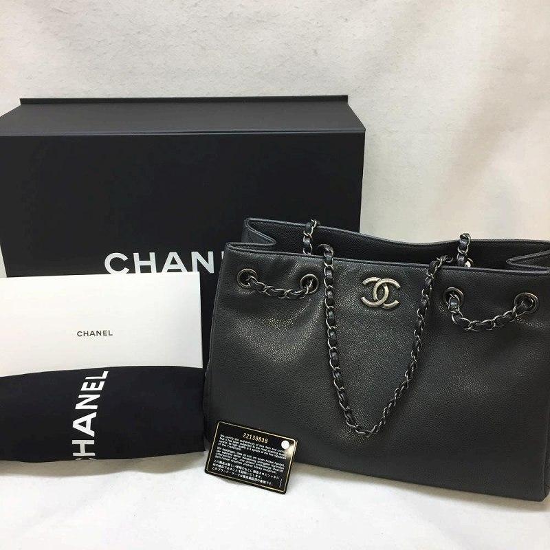 シャネル CHANEL/ キャビアスキン チェーン トートバッグ ブラック エイジド金具 箱 布袋 ギャラ付き 2016年製 美品 特上品 管理EM11778