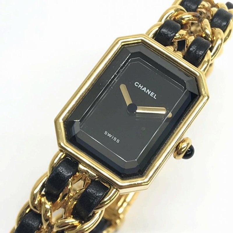 CHANEL シャネル H0001 プルミエールL ゴールドカラー レディース 腕時計 クオーツ 黒文字盤 2針 レザー&ゴールドGPベルト 管理YO12698