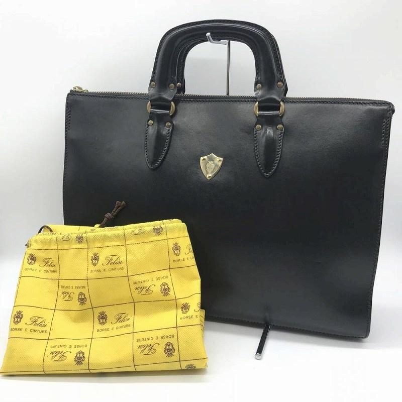 フェリージ 1843 カーフレザー ブリーフケース ブラック 黒 書類かばん メンズ 紳士バッグ ビジネスバッグ 中古 管理RT13092