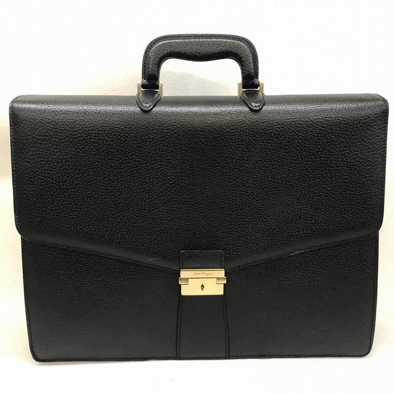 7d429a7136 Salvatore Ferragamo Salvatore Ferragamo briefcase 2WAY business case pig  leather 24-2010 black men management ...