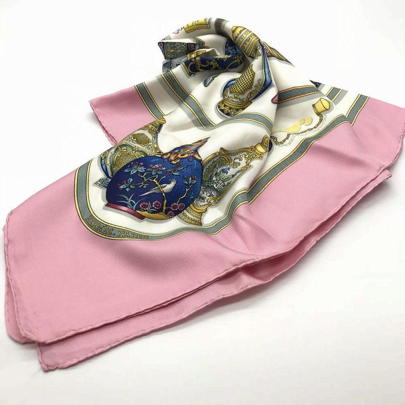 HERMES スカーフ カレ90 Qu'importe le flacon 香水瓶 ピンク シルク 中古 レディース 女性 管理RT13379