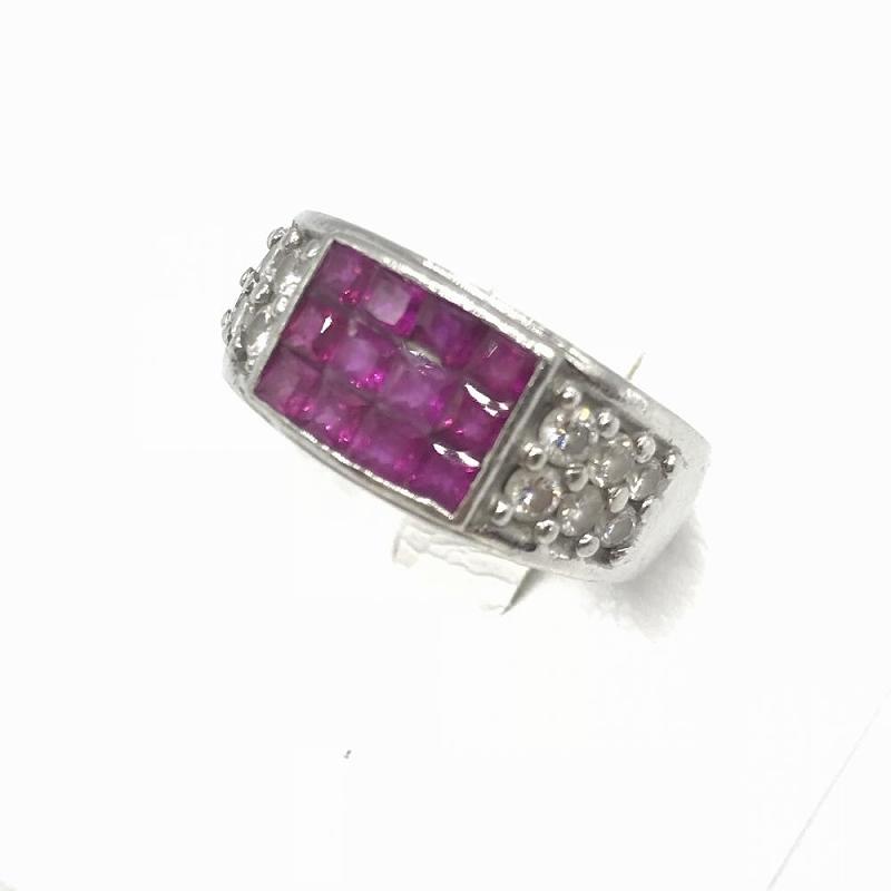 ジュエリー アクセサリー プラチナ ルビー ダイヤモンド リング 指輪 Pt900 D0.56 R1.40 14.1g レディース 中古 12.5号 管理RT12232