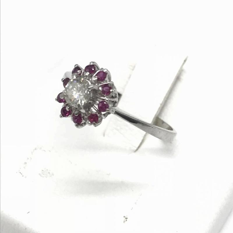 ジュエリー アクセサリー プラチナ ダイヤモンド リング ピンク 指輪 Pt900 2.0g 0.21ct 中古 レディース 管理RT13583