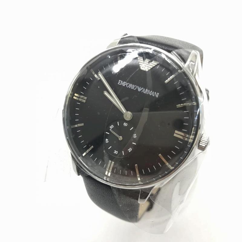 未使用 EMPORIO ARMANI エンポリオアルマーニ AR0382 アナログ クオーツ 腕時計 ブラック レザーベルト メンズ 管理MM12803