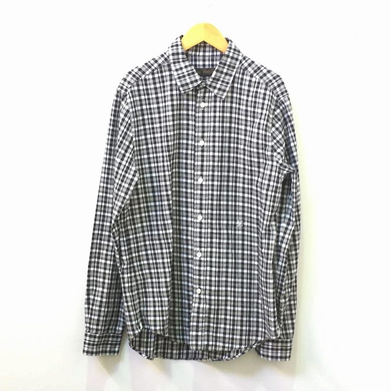 Louis Vuitton Black Check Shirt Casual Long Sleeves Men Clothes Man Clothing Used Management Rt14112
