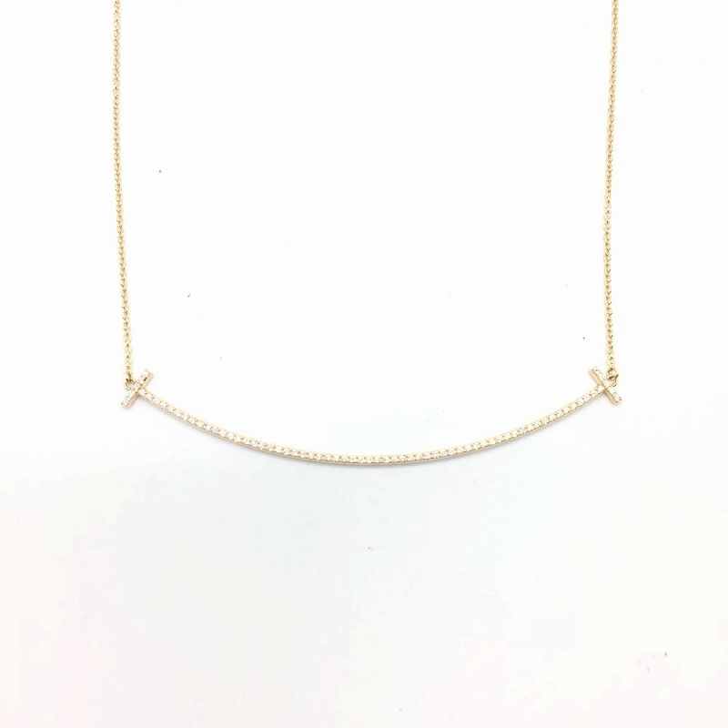 fc05b80eeadc8 TIFFANY&Co. Tiffany T smile necklace diamond K18YG yellow gold Lady's men  accessories used management RT14190