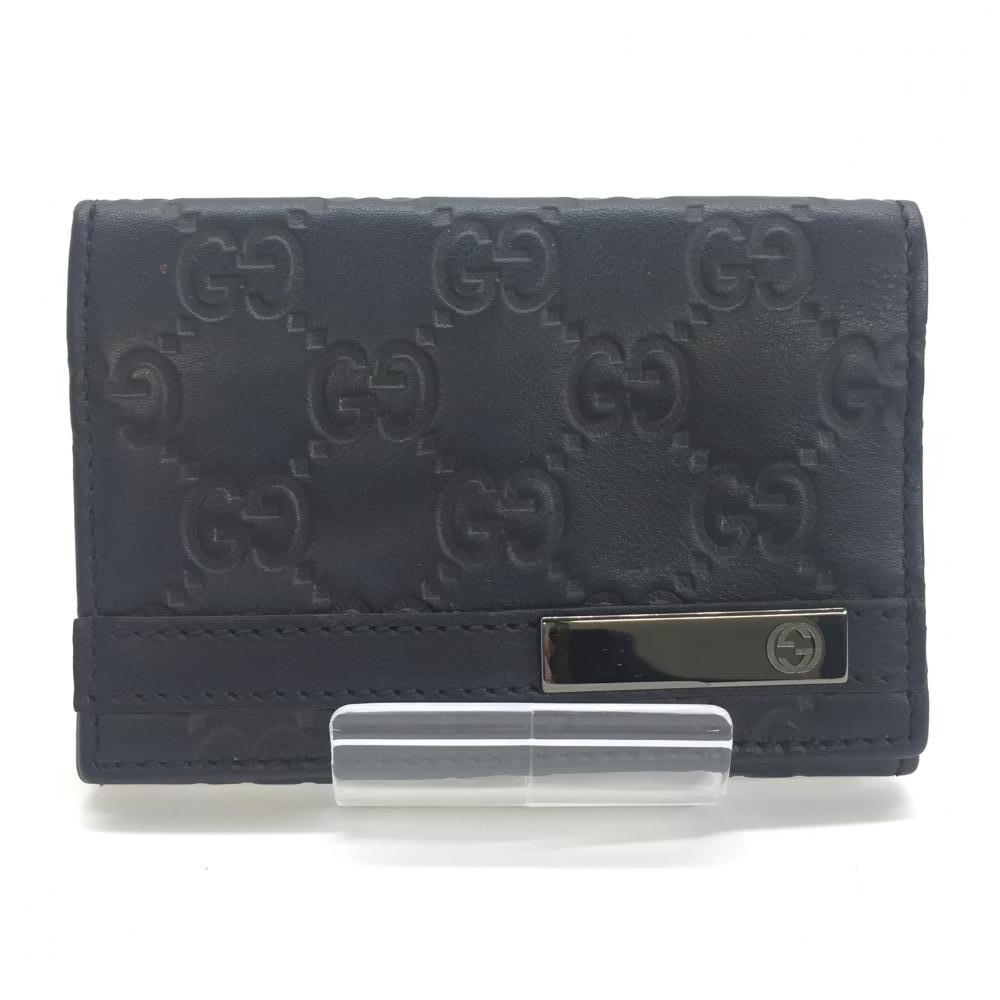 GUCCI グッチ 251727 シマ カードケース ネイビー 紺色 ブランド小物 名刺入れ レザー 管理RM14068