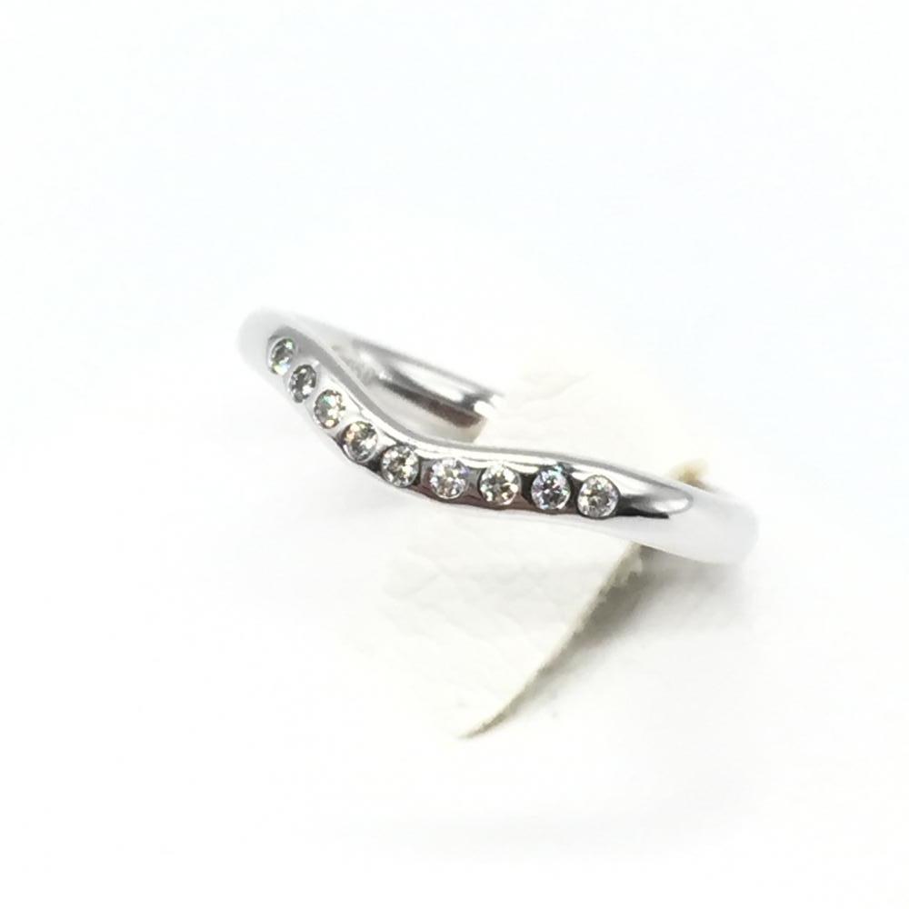 TIFFANY&Co. ティファニー カーブドバンドリング プラチナ Pt950 ダイヤモンド 指輪 7号 レディース 女性 中古 仕上済 管理RT14317