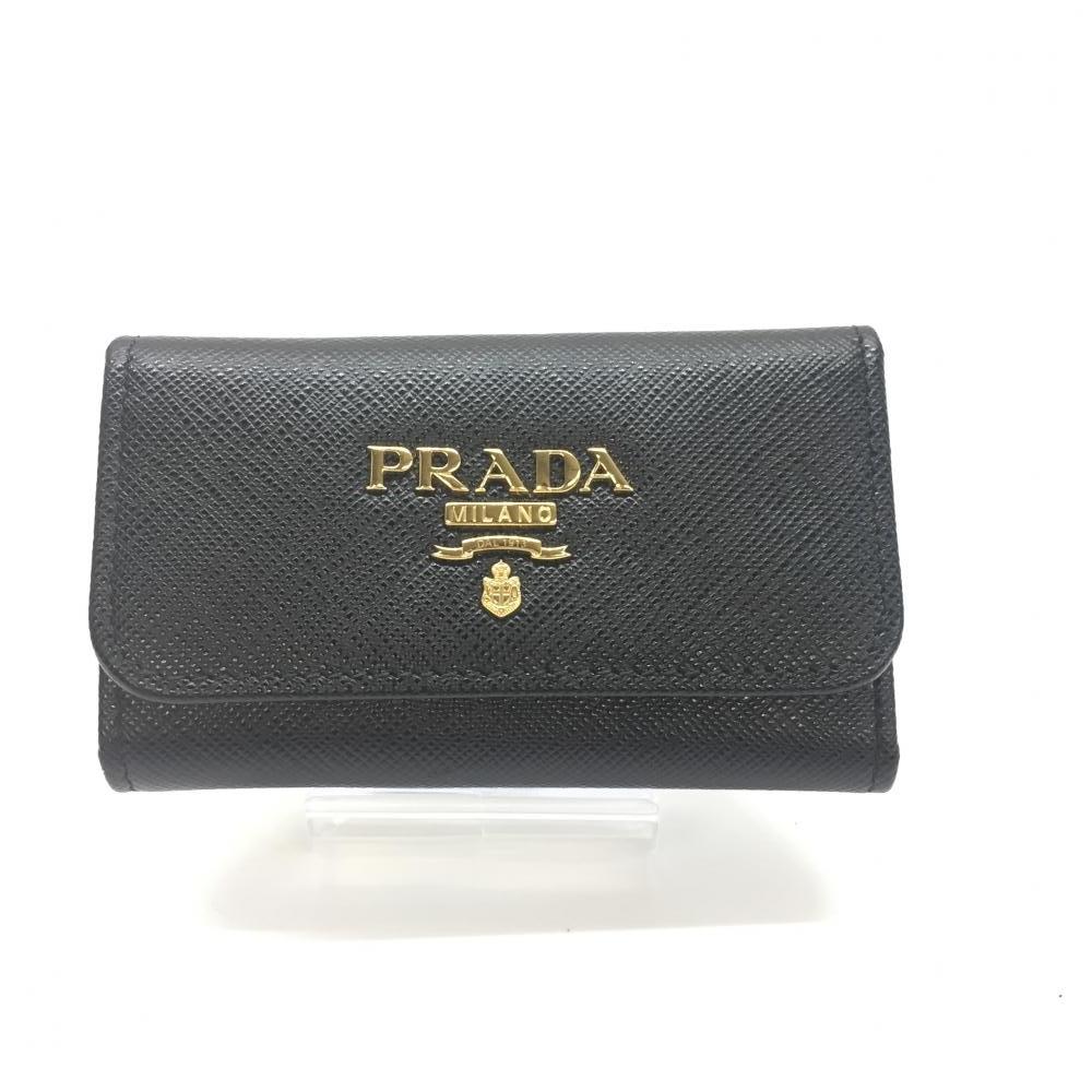 未使用 PRADA プラダ 1PG222 キーケース 6連 ブラック 黒 ゴールド金具 サフィアーノ 男女兼用 箱付き 管理RM14755