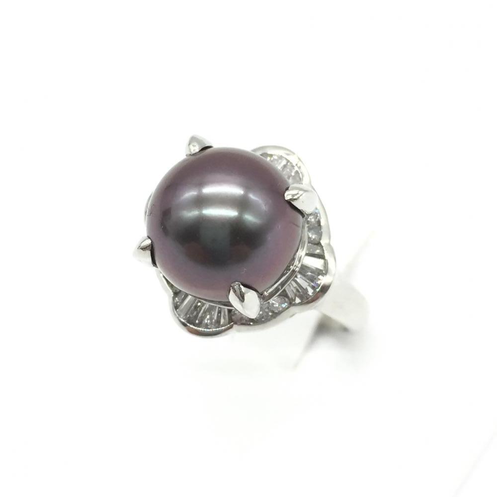 ジュエリー アクセサリー リング 指輪 プラチナ Pt900 7.5g D0.35ct メレダイヤ 黒真珠 パール サイズ9.5号 貴金属 中古 管理RT14818