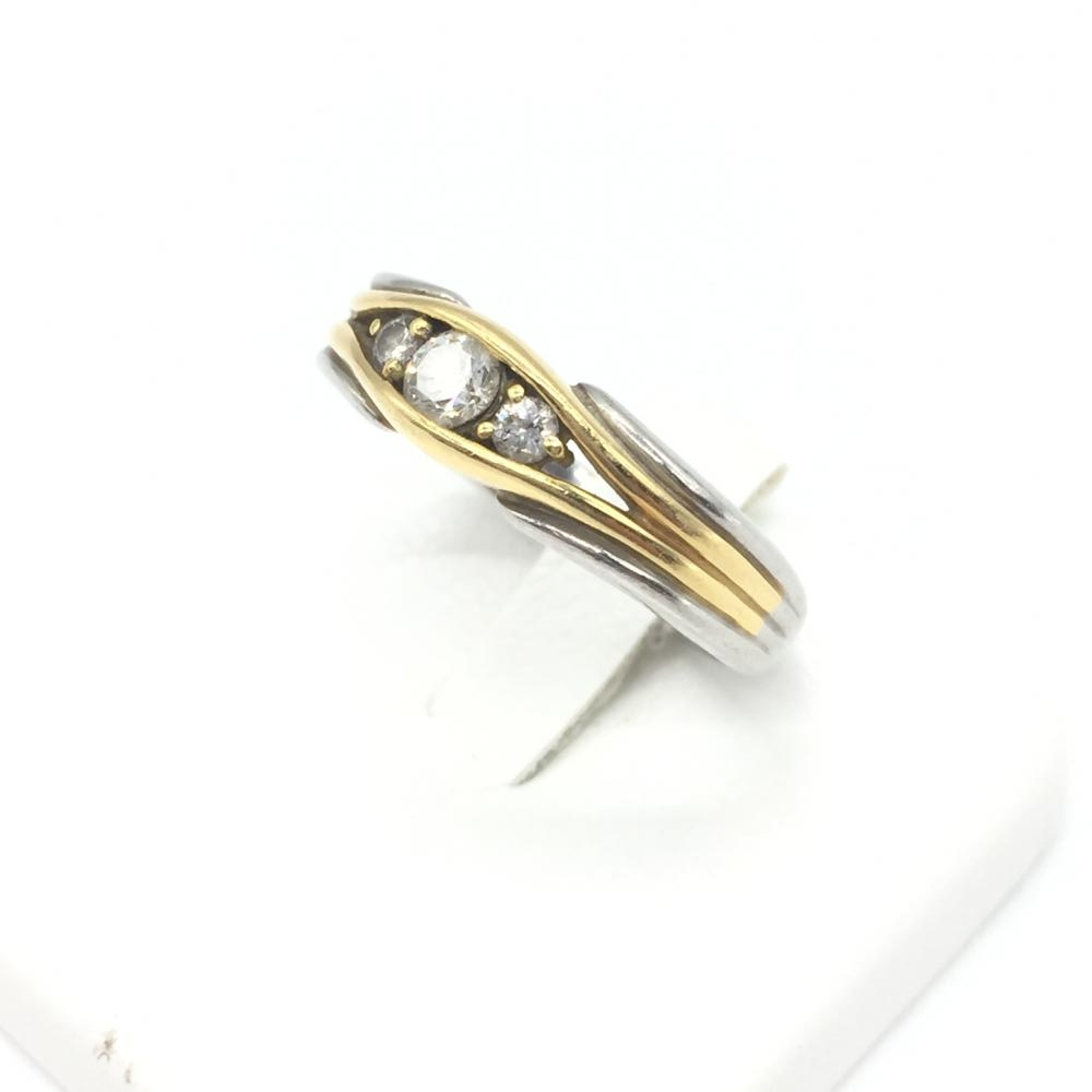 ジュエリー アクセサリー リング 指輪 K18/Pt900 コンビ 7.5g ゴールド プラチナ 18金 貴金属 サイズ13号 中古 レディース 管理RT14884
