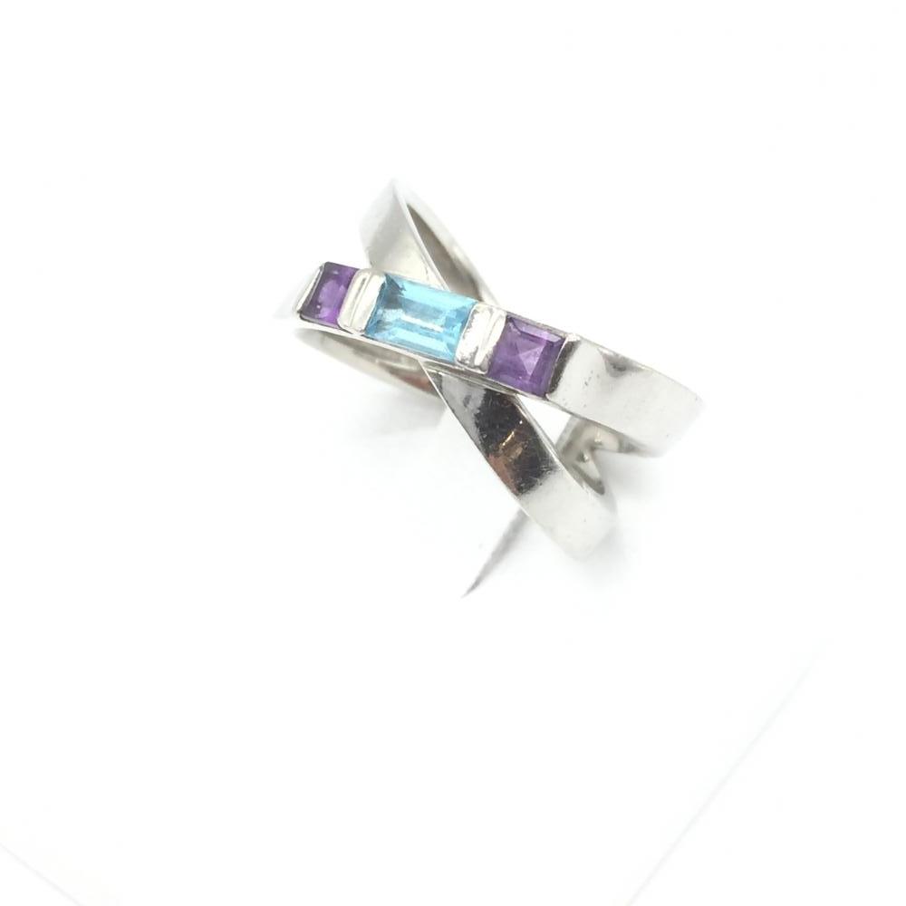 ジュエリー アクセサリー リング 指輪 プラチナ Pt900 8.3g カラーストーン シルバー パープル ブルー 中古 10.5号 貴金属 管理RT14974
