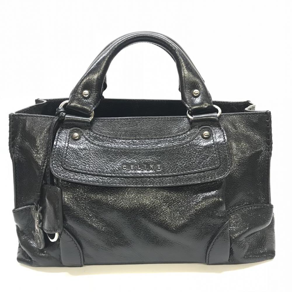 CELINE セリーヌ 134023LSS ブギーバッグ チャーム クロシェット ブラック 黒 レザー ハンドバッグ 馬車 布袋 管理RM15001