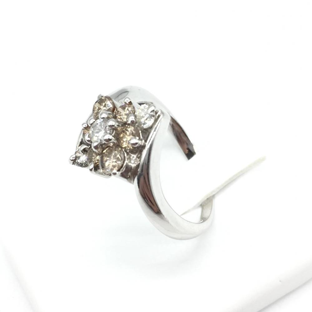 ジュエリー アクセサリー リング 指輪 ホワイトゴールド メレダイヤ K18WG 4.7g MD1.05ct 貴金属 中古 サイズ15号 箱付き 管理RT14760