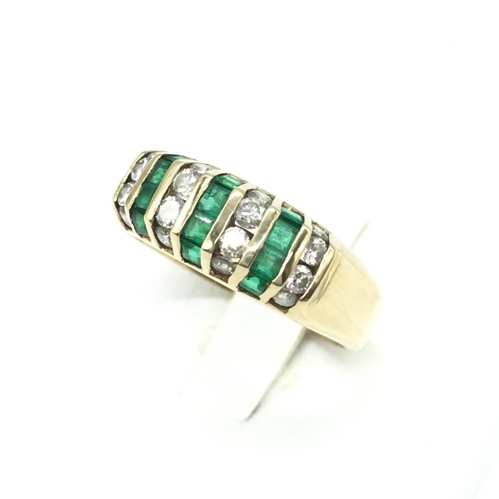 ジュエリー アクセサリー リング 指輪 ゴールド K18 3.9g MD0.41 E0.47 ダイヤモンド エメラルド 貴金属 レディース 中古 管理RT15223
