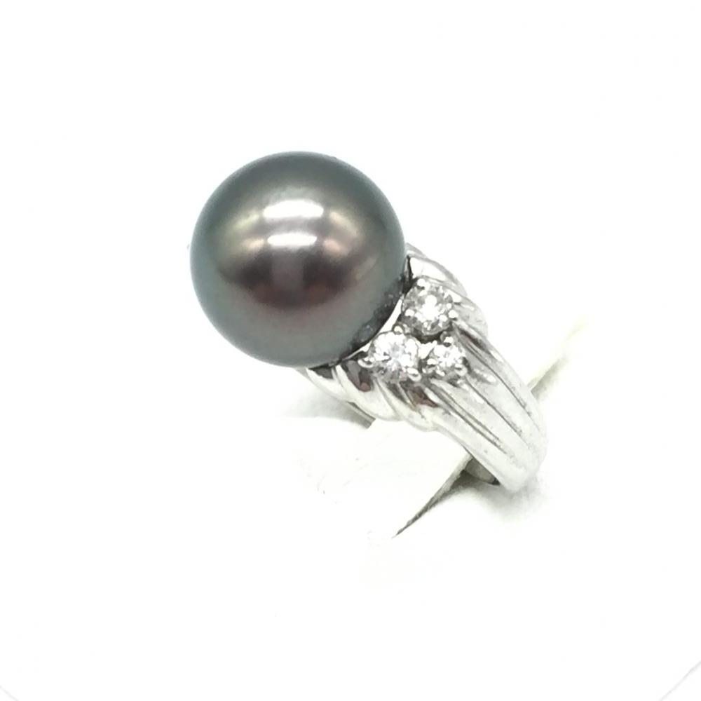 ジュエリー アクセサリー ブラックパールリング 指輪 プラチナ PT900 総11.1g 黒真珠 貴金属 11.5号 レディース 小物 中古 管理RT15306